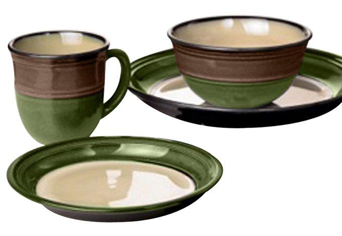 Vajilla cer mica verde cafe reactive glaze 16 pzs sears for Vajilla ceramica
