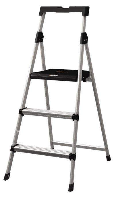 Escalera de aluminio m s plataforma con charola 2 for Escaleras con plataforma precios