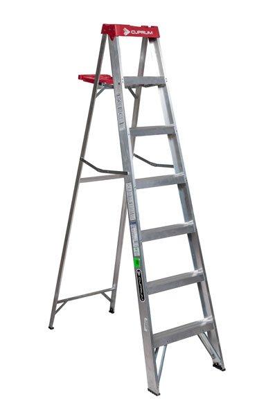 Escalera de aluminio tipo tijera 6 escalones cuprum c for Precios de escaleras de tijera de aluminio
