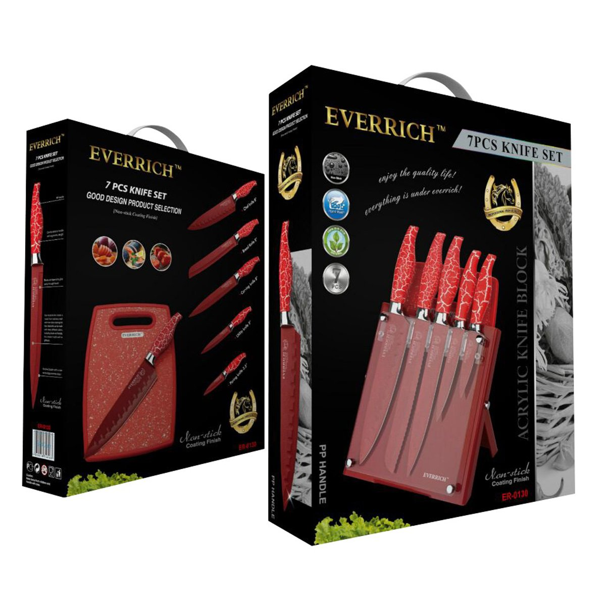 Juego 7 cuchillos con tabla de picar rojo everrich er 01 - Tabla de cuchillos ...