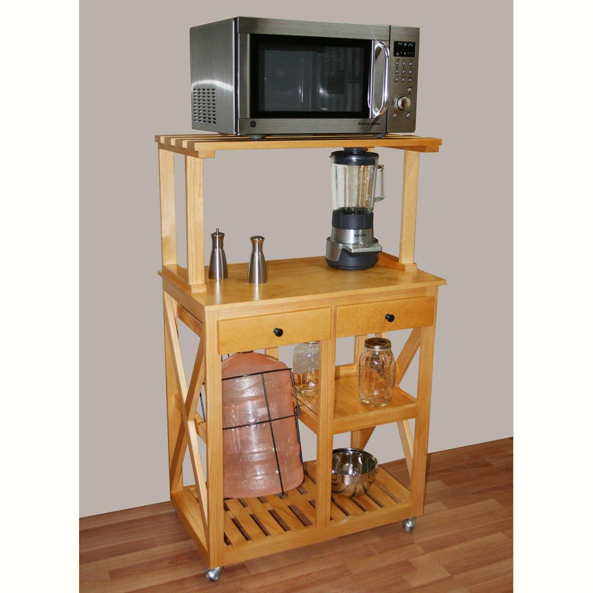 Mesa microndas madera pdos cajones color olmo san sears for Mesa frutero cocina