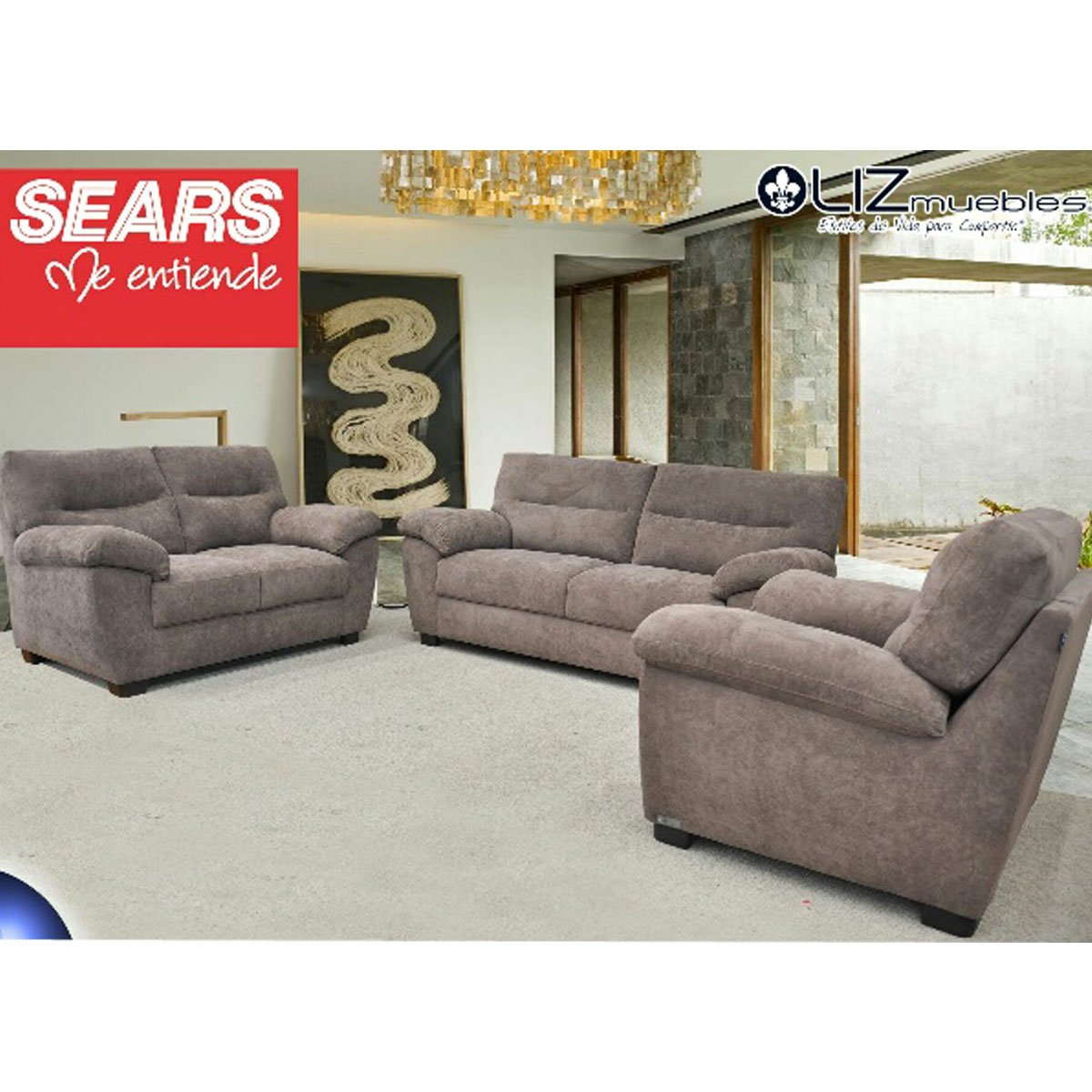 Sala greco 3 2 1 tapizado en tela topo sears com mx me for Muebles de sala sears