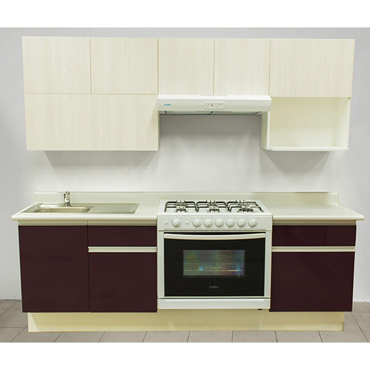 Cocina integral rouge estufa derecha tarja for Muebles para cocina integral