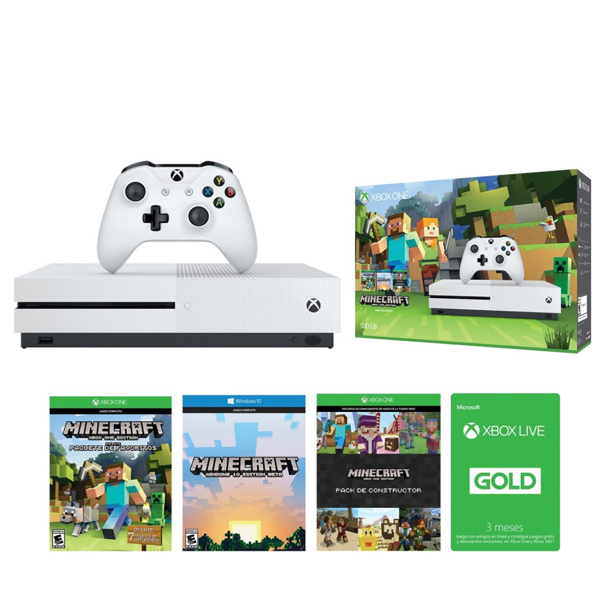 Consola Xbox One S 500Gb Minecraft + Tarjeta Live Gold 3 Meses