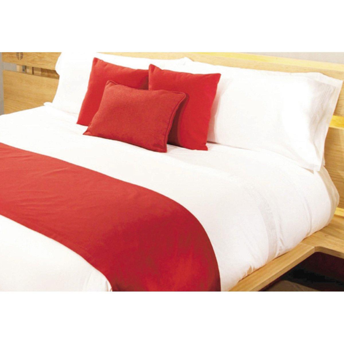Juego de cojines y pie de cama rojo home nature - Juego de cojines para cama ...