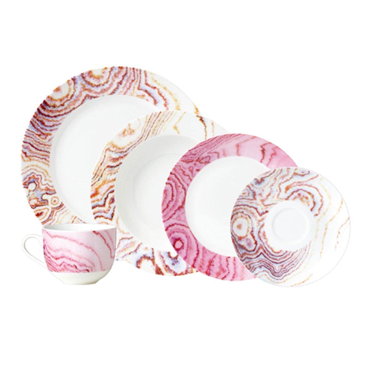 Vajilla 20 piezas porcelana rosa crown baccara sears com for Vajilla rosa