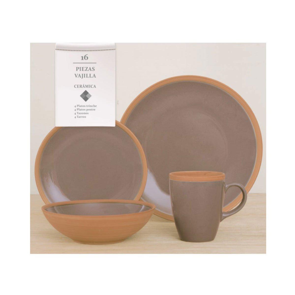 Vajilla 16 piezas ceramica beige mug master sears com mx for Vajilla ceramica
