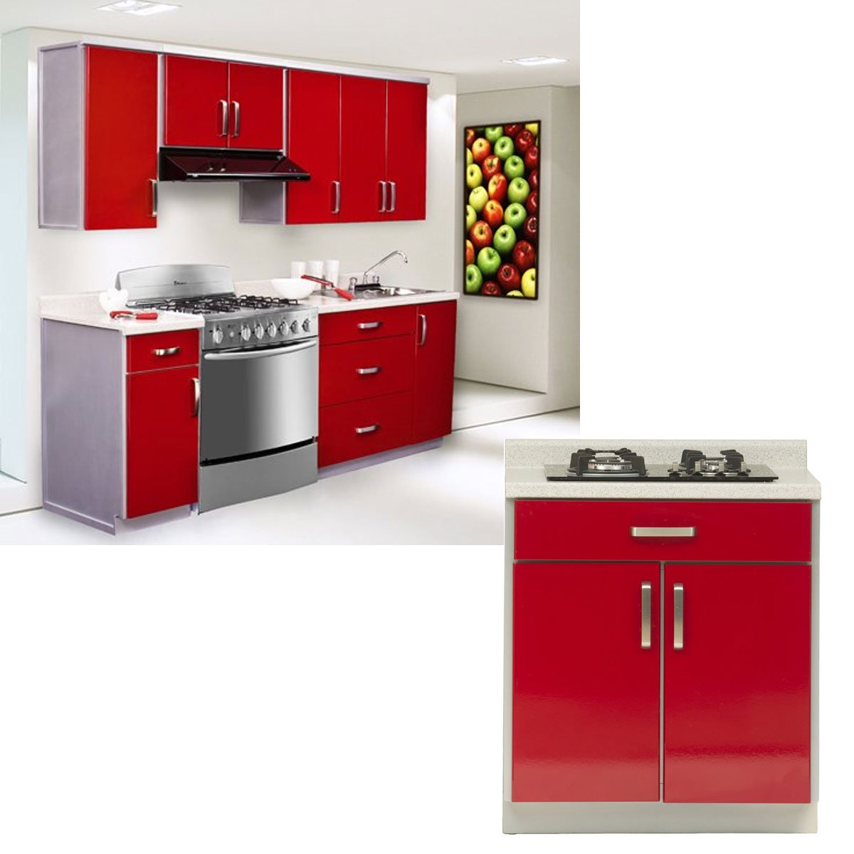 Cocina Modular Alondra New Challenge 2 43 Mts Roja Sears Com Mx  # Muebles New Challenge
