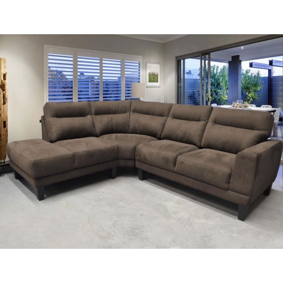 sala modular serra pzas izq tapiz tela chocolate muebles liz