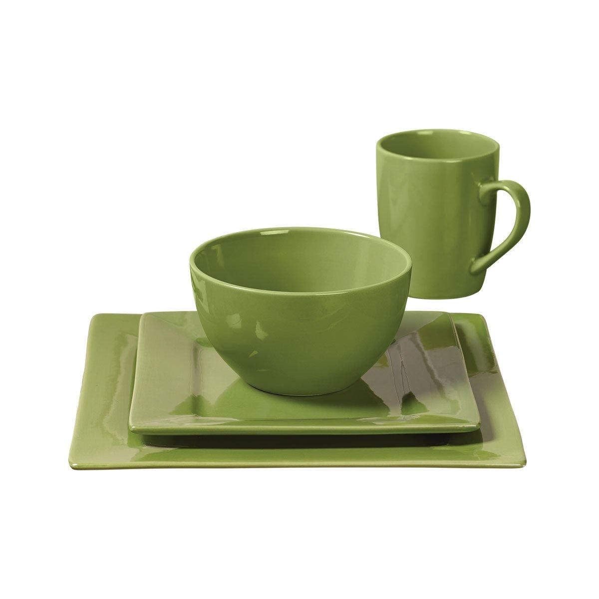 16 piezas cuadrada vajilla set color s lido verde for Vajilla precio
