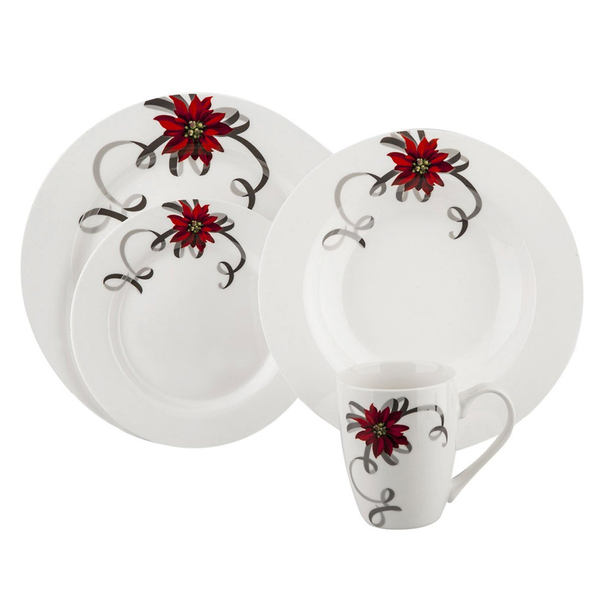 Vajilla 16 piezas flor de navidad platino real mug master - Vajilla de navidad ...