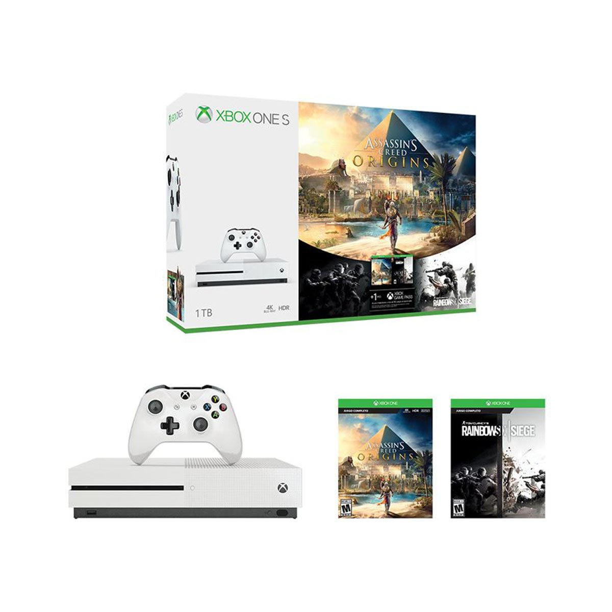 Consola Xbox One S 1tb Assassin S Creed Origins Rainbow Six  # Muebles Para Xbox