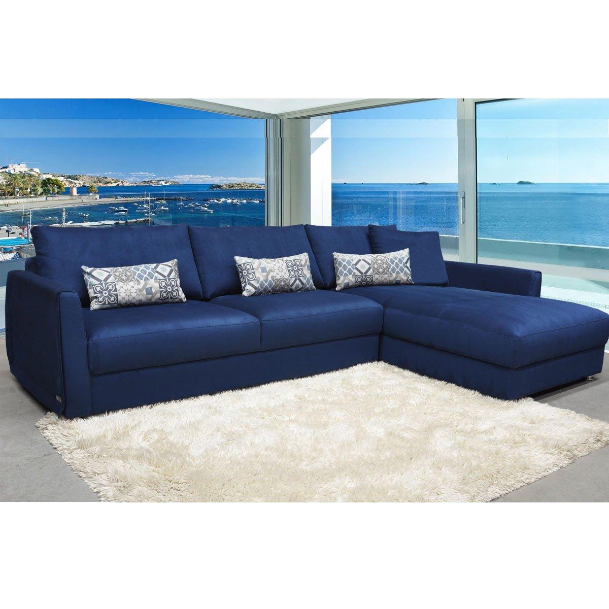 Sala Modular Sienna Izquierda Tela Azul Muebles Liz Sears Com Mx  # Muebles Liz Sears