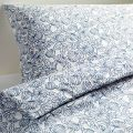 Ikea Bladvass Full/queen Duvet Cover and Pillowcases, White, Blue