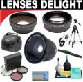 .42x HD Super Wide Angle Fisheye Lens + 2x Digital Telephoto Professional Series Lens + 0.5x Digital Wide Angle Macro Professional Series Lens + 3 Piece Digital Camera Filter Kit + 6-Piece Deluxe Cleaning Kit + Full Size Tripod + Deluxe DB ROTH Acces