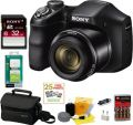 SONY Cyber-shot DSCH200B Compact Zoom Digital Camera in Black + Sony Class 10 32GB Secure Digital Memory Card + Sony Small System Case + Mini Charger for AA Ni-Mh 2700mAh Batteries w/ AC/DC & Universal Adapter + 25 Free Quality Photo Prints + Sony Cy