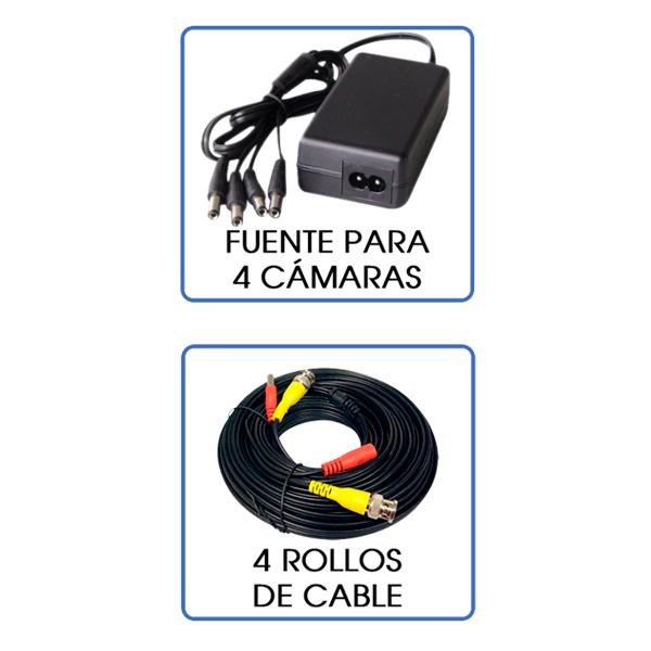 Kit De Videovigilancia 4 Cámaras HD Tipo Bala  Monitoreo Por Internet
