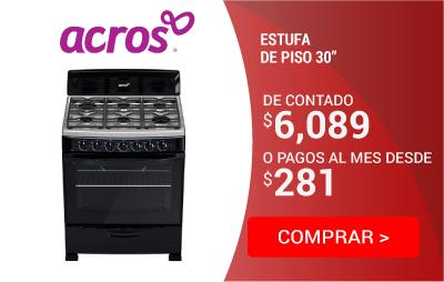 "Estufa de Piso Acros 30"" Negra"