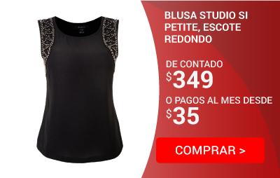 Blusa Studio si Petite, Escote Redondo