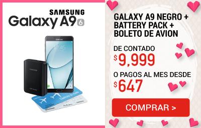 Celular Amigo Kit de Telcel Samsung Galaxy A9 Negro + Battery Pack + Boleto de Avion