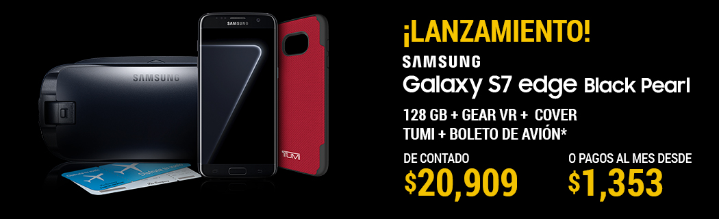 Celular Amigo Kit Telcel Samsung Galaxy S7 Edge Black Pearl + Gear VR + Cover Tumi + Boleto de Avion