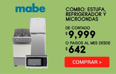 COMBO TU HOGAR: Refrigerador 10 pies, Estufa 51 cm y Microondas