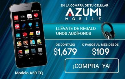 Celular Amigo Kit de Telcel Azumi A50TQ Azul + Audifonos