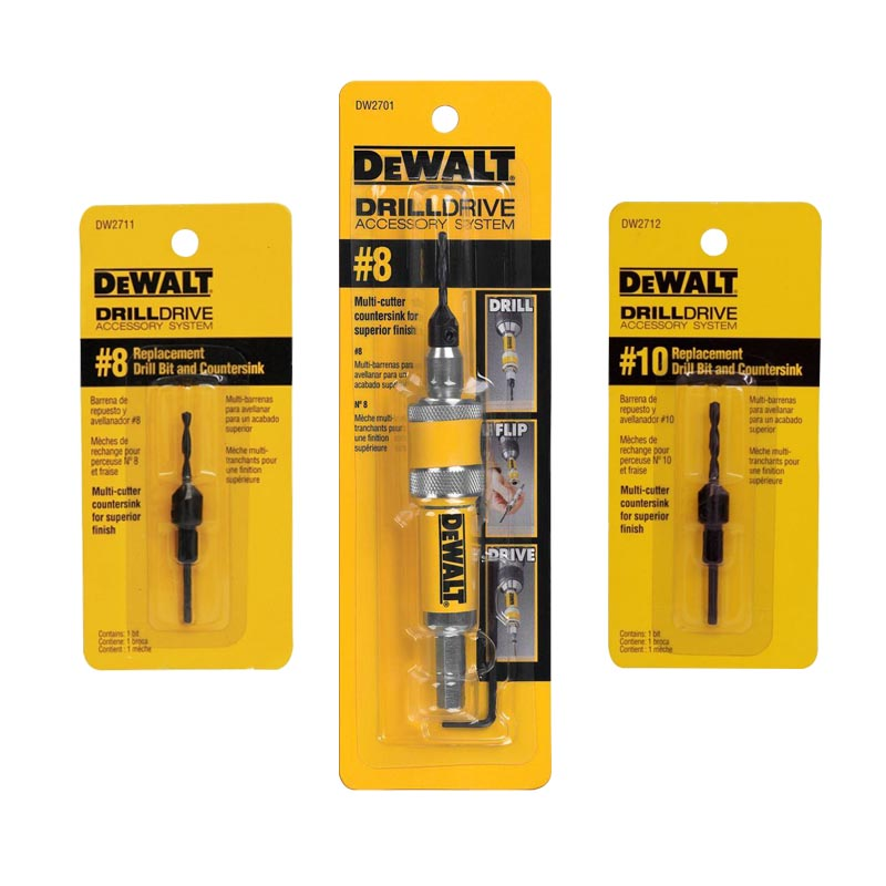 Kit Adaptador Reversible 8 + Broca Avellanador 8 y 10 DeWalt