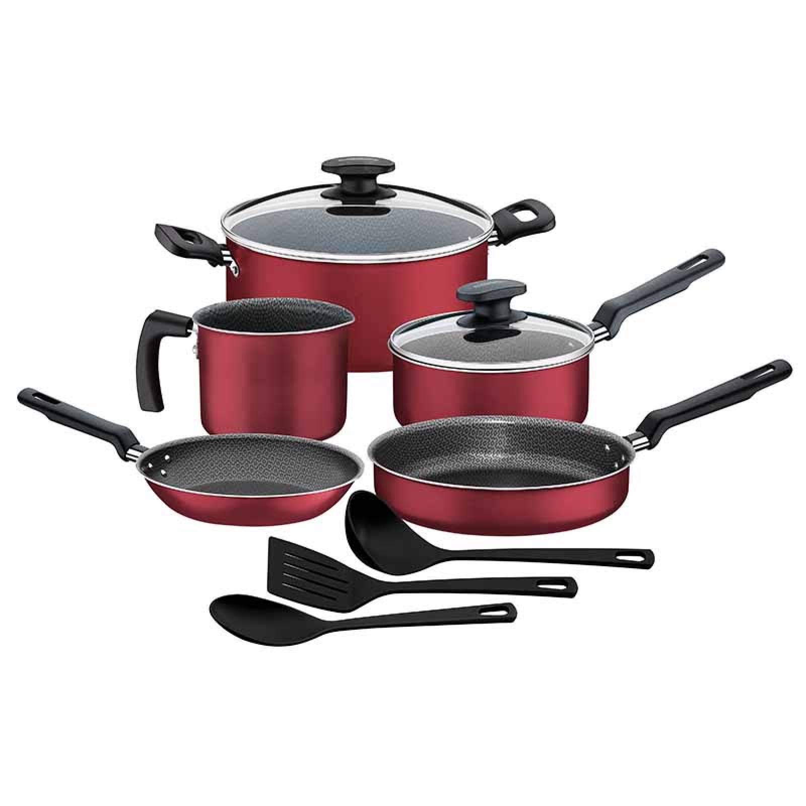 Batería De Cocina Verona Rojo 10 Piezas 27899098 Tramontina